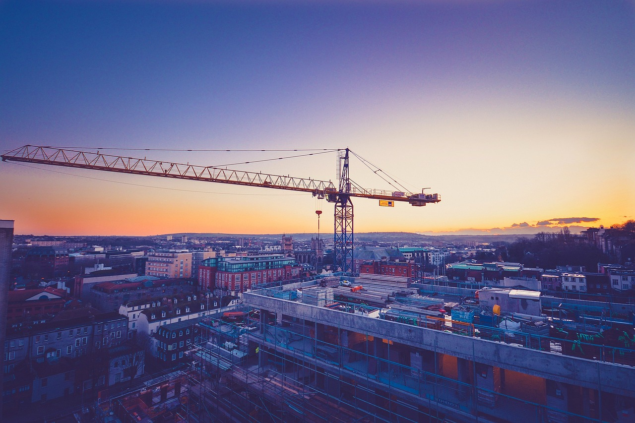 construction at sunset
